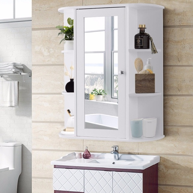 Giantex Bathroom Cabinet Single Door Shelves Wall Mount Cabinet W