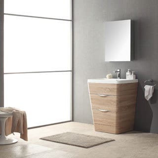 Shop Fresca Milano 26-inch White Oak Modern Bathroom Vanity with