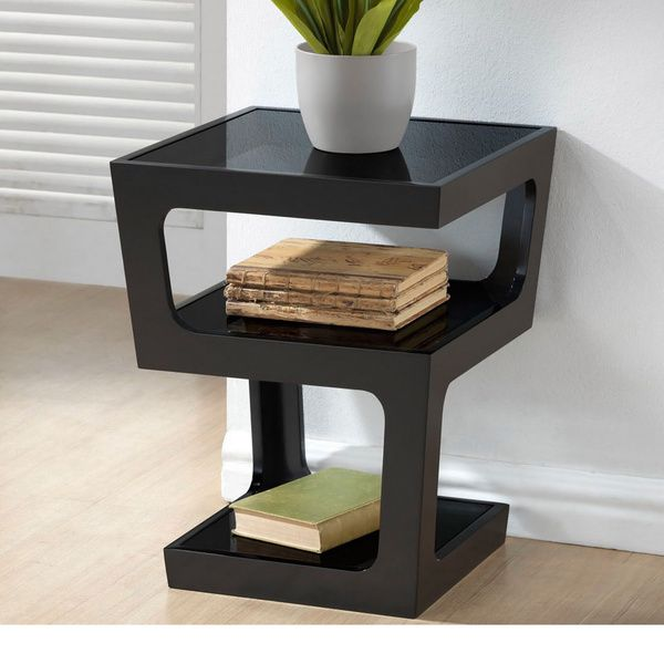 Clara Modern Tall Black 3-tiered End Table | SALON | Black end