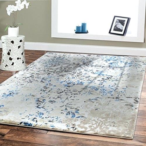 Premium Soft Contemporary Rug For Living Room Luxury Cream Blue