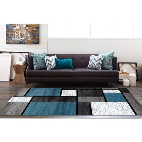 Shop OSTI Modern Boxes Blue/ Black/ Grey Contemporary Area Rug - 5'3