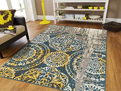 Amazon.com: Modern Area Rugs for Living Room 8x10 Blue Yellow Gray