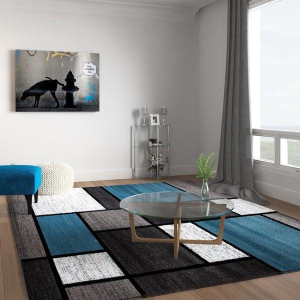 Shop Contemporary Modern Boxes Blue/Grey Area Rug (7'10 x 10'2) - 7