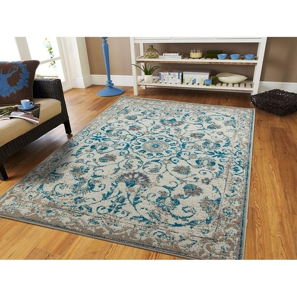 Shop Modern Distressed Area Rugs Living Room Blue Gray Floral Rug