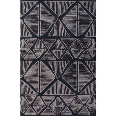 Modern Tribal Blue/Gray Wool Area Rug - Midnight Sketches | NOVICA