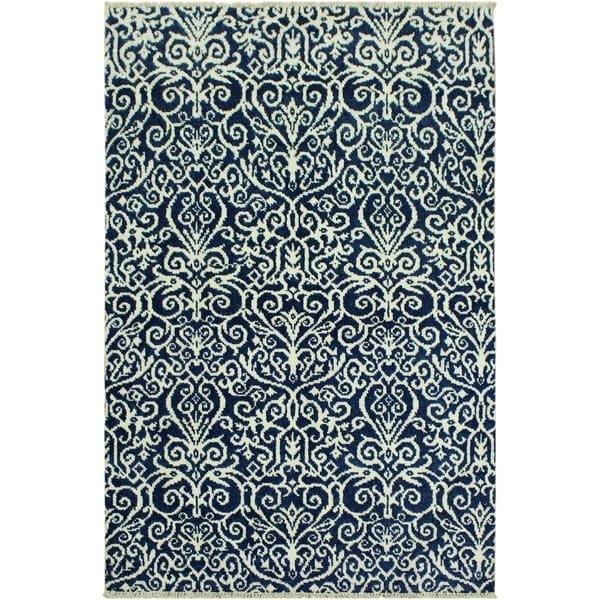 Shop Cryena Modern Kati Blue/Ivory Wool Area Rug (4'2 x 6'4) - 4 ft