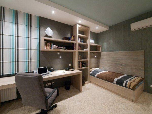 modern boy bedroom furniture wall shelf desk light wood color