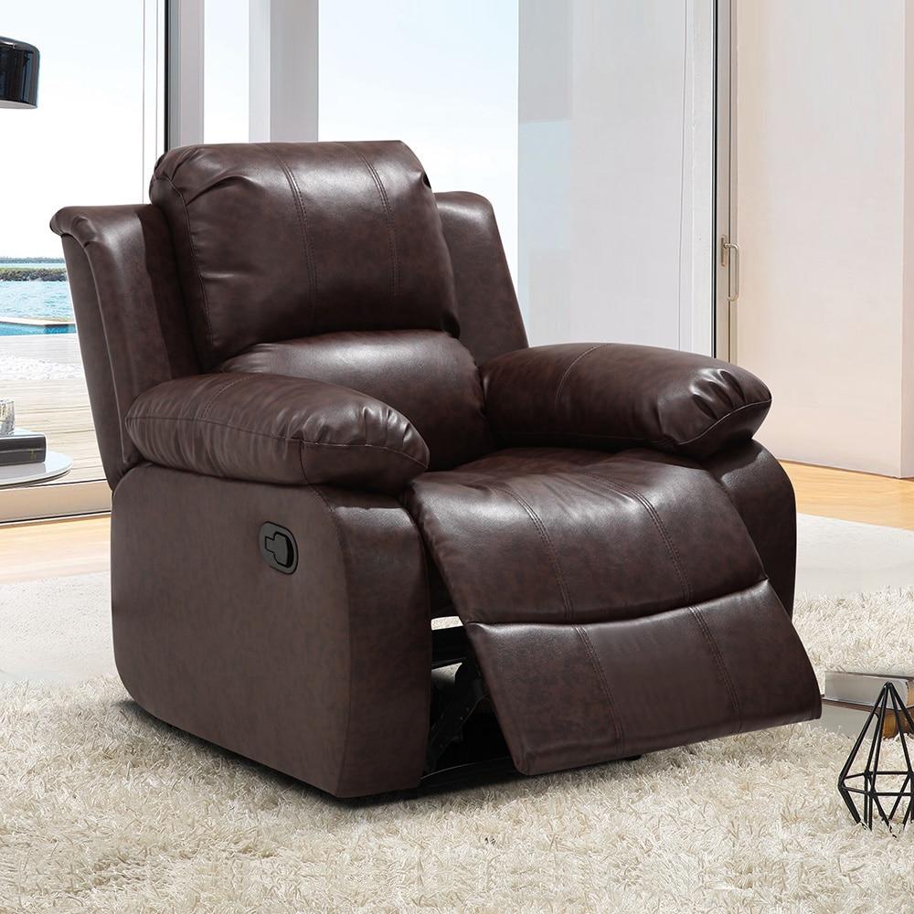 US Furnishing Express Madison Black/Brown Wood/Bonded Leather Modern