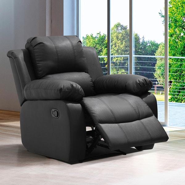 Shop Madison Black/Brown Wood/Bonded Leather Modern Living Room