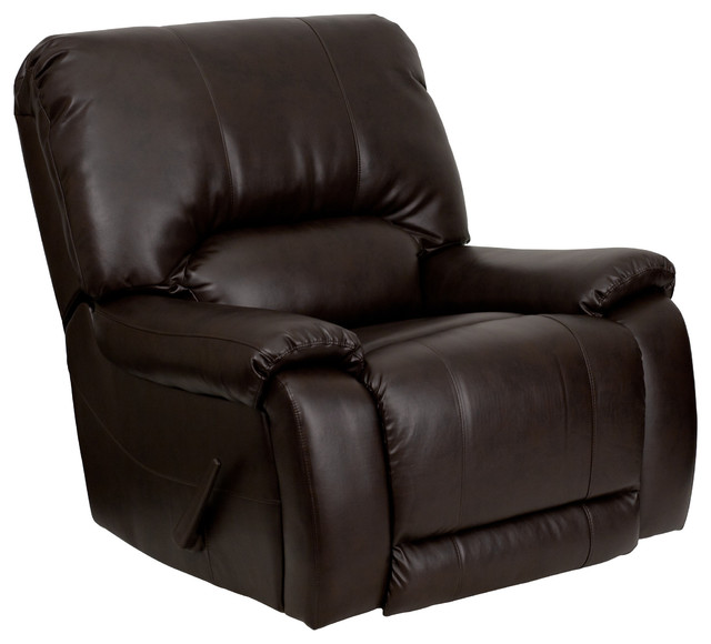 Flash Furniture OverStuffed Brown Leather Lever Rocker Recliner