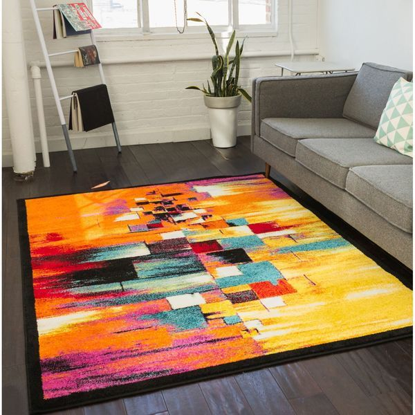 Mid Century Modern Area Rugs at Wooden Floor |