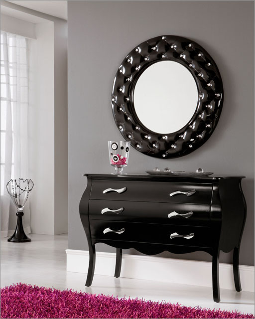 Modern Console Table And Mirror Set In Black 33C101