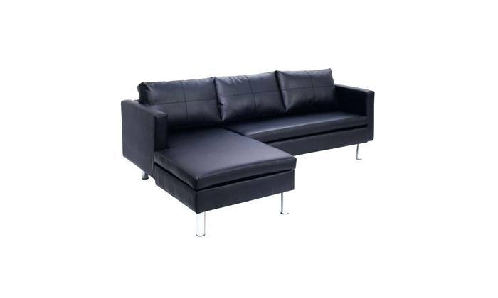 Corner Sofa 3 Couch Chaise Lounge Modern Furniture Black New With