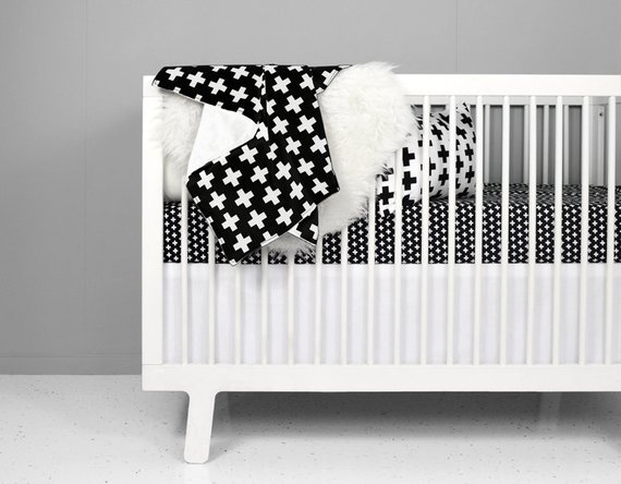 Modern Crib Bedding Set - Black + White Swiss Cross | black and