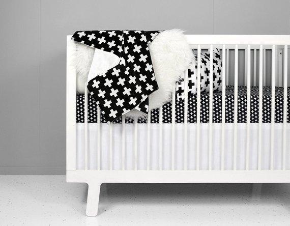 Modern Crib Bedding Set - Black + White Swiss Cross | black and