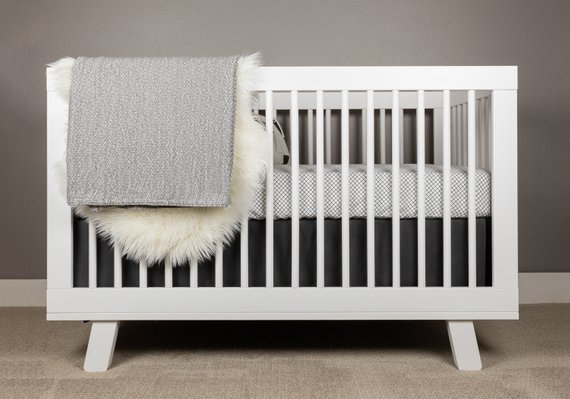 Black and White Crib Bedding | Modern Nursery | Mini Grid Crib