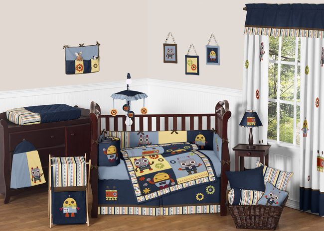 Modern Robot Baby Bedding - 9pc Crib Set by Sweet Jojo Designs only