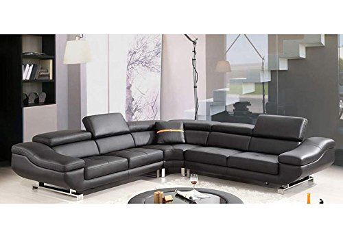 1PerfectChoice Contemporary Curved Sectional Sofa Black Bonded