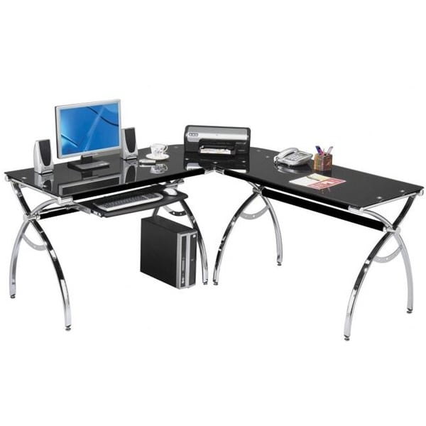 Shop Techni Mobili RTA-0039LC-BK L-Shaped Computer Desk - Black