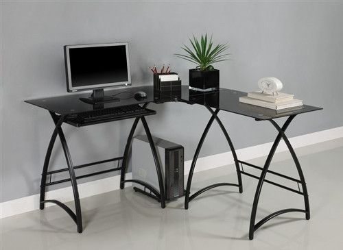 Modern Black Glass L-shaped Desk with Elegant Curved Legs | House