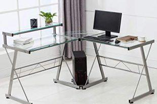 Amazon.com: Mecor L-Shaped Corner Computer Desk with Shelf & Stand