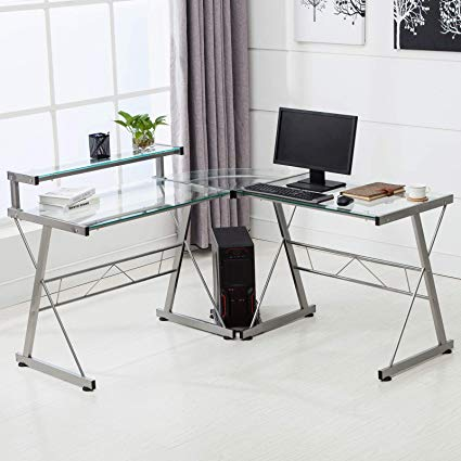 Modern Curved Shaped Glass Computer Desk