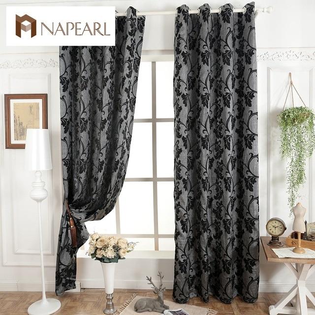NAPEARL Dark grey blinds window treatments semi blackout 3D curtains