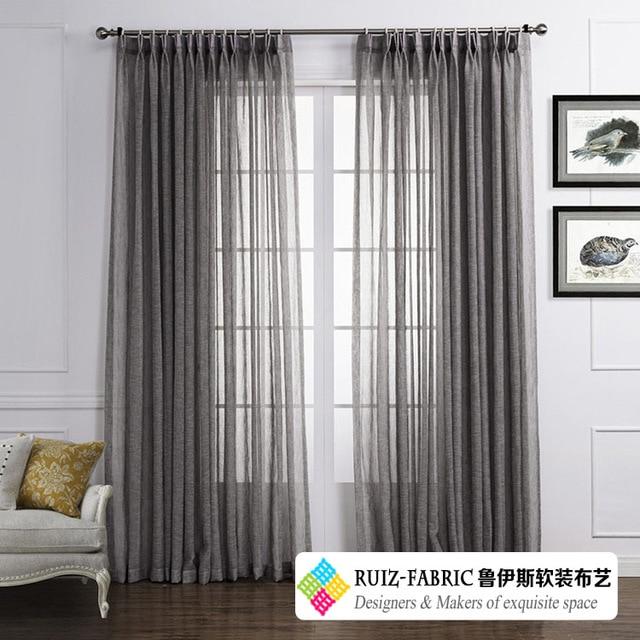RUIZ Fabric Custom made Dark Gray Modern Minimalist Solid Sheer