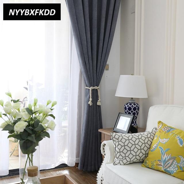 Custom Made Modern Simple Solid Color Chenille Cloth Dark Grey