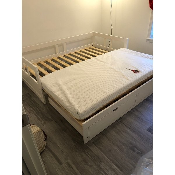 Shop Melody Twin to King Trundle Daybed with Storage Drawers, White
