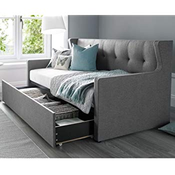 Daybed with Trundle, Happy Beds Hunter Grey Fabric Modern Day Bed