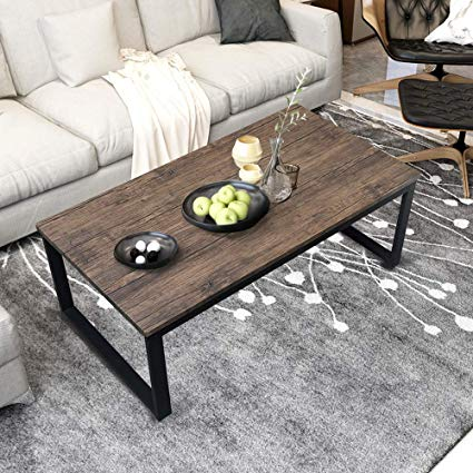 Amazon.com: Aingoo Rustic Coffee Table with Metal Frame for Living