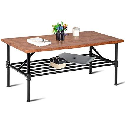 Amazon.com: Giantex 2-Tier Rustic Coffee Table Metal Frame Modern