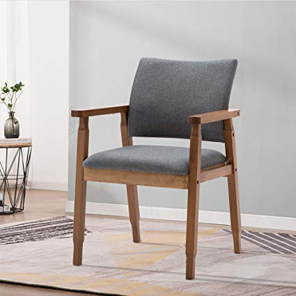 Amazon.com - Mid Century Modern Dining Chairs Wood Arm Gray Fabric