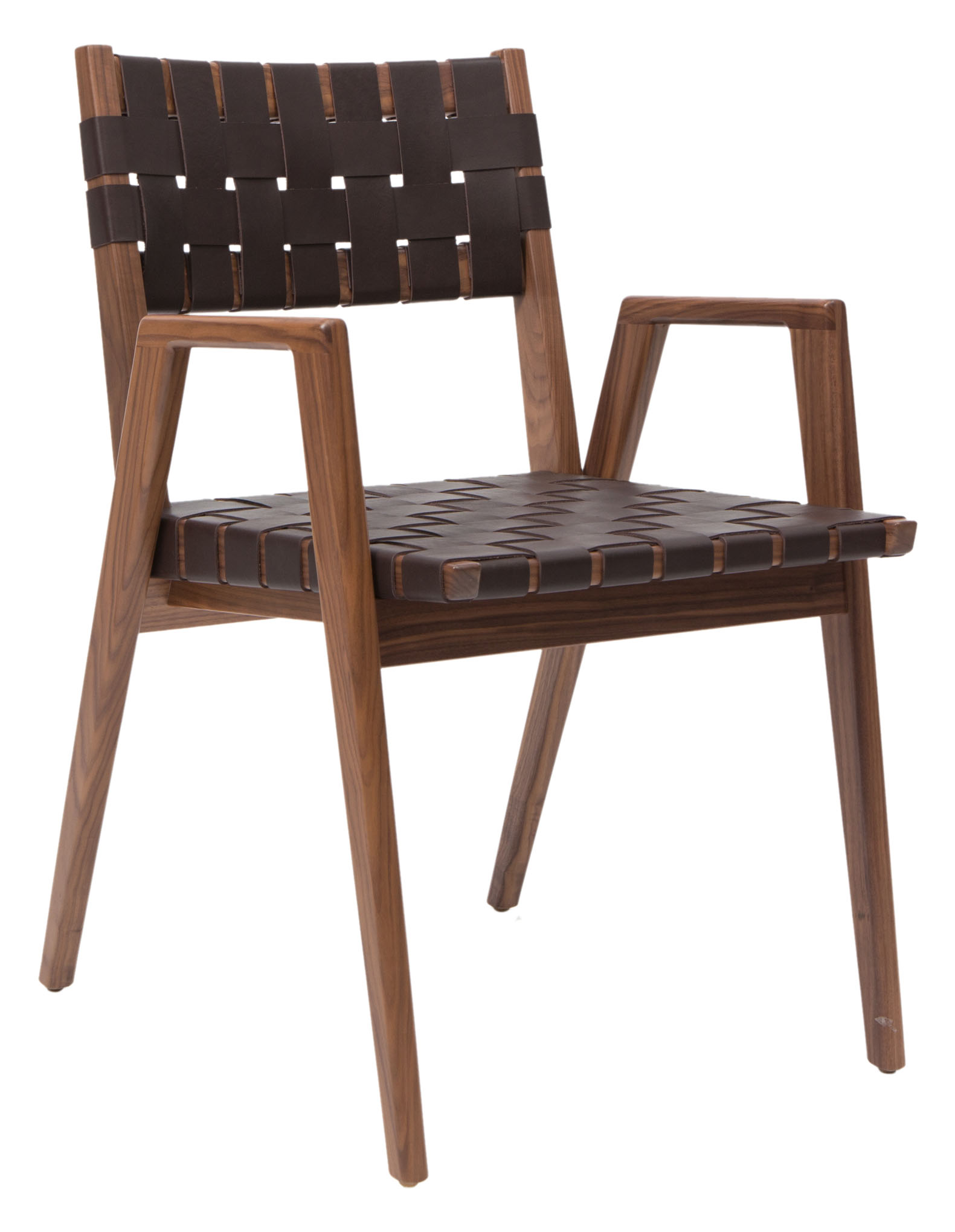 Woven Leather Dining Arm Chair - WDC 600 - Mid-Century Modern Dining