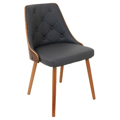 Gianna Mid Century Modern Walnut Upholstered Wood Back Dining Chair