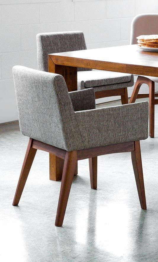 2x Gray Dining Chair in Brown Wood-Upholstered | Article Chanel