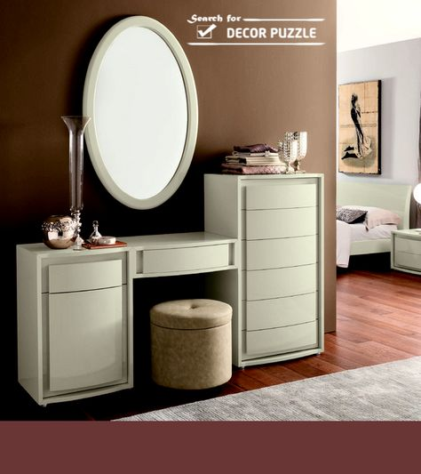 modern white dressing table with mirror ans storage drawers | Homes