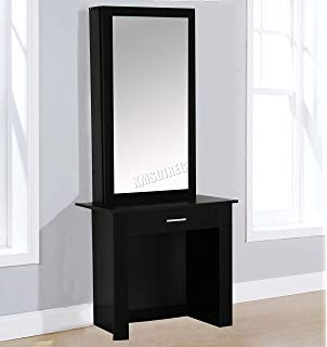 George's Home Large Dressing Table Sliding Storage Mirror Glass Set