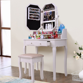 Solid Wood Modern Vanity Cosmetic Dressing Table Cabinet Mirror