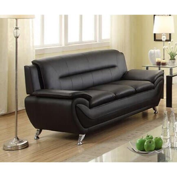 Shop Deliah Modern Contemporary Black Faux Leather Sofa - Free