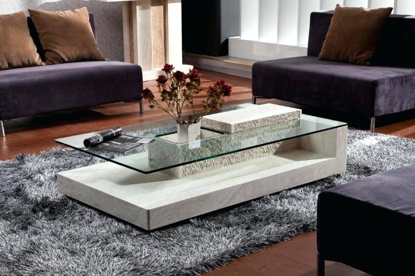 Center Table Living Room Center Table With Black Glass Shelf And