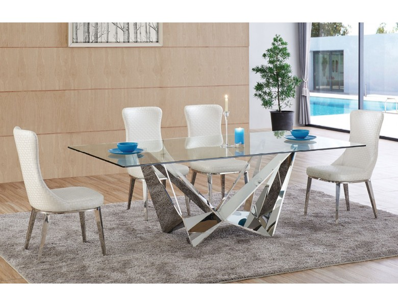 Bradley Modern Glass Top Dining Table