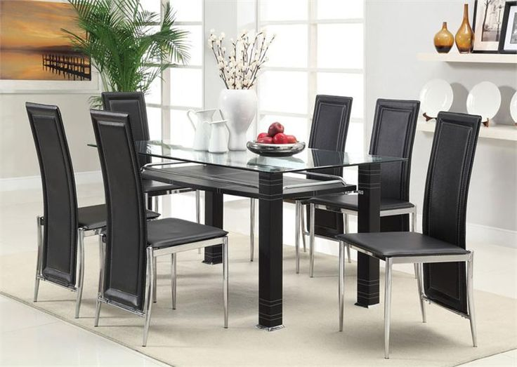 Black Glass Dining Room Table And Chairs Awesome Modern In Set