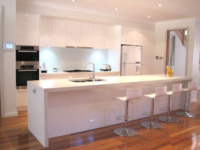White modern kitchen, breakfast bar, island, stools, glass