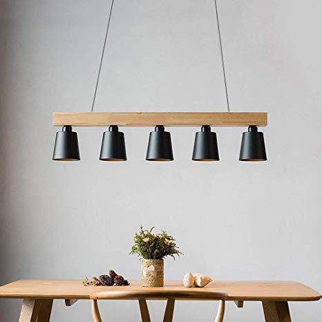 Wood Pendant Light Linear Modern Chandelier Hanging Ceiling Light