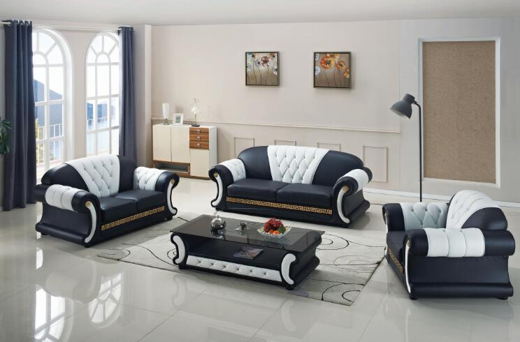 Sofa set living room furniture with genuine leather 3 pcs-in Living