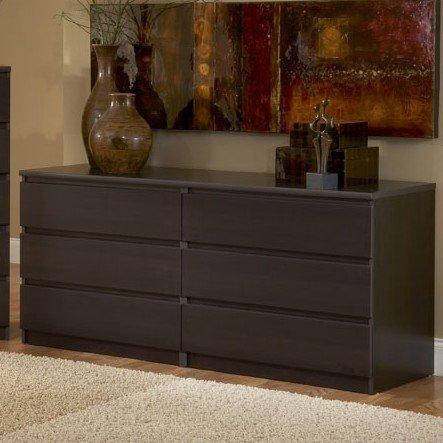 Modern Danish 6-drawer Long Dresser Brown Espresso Chocolate Wooden