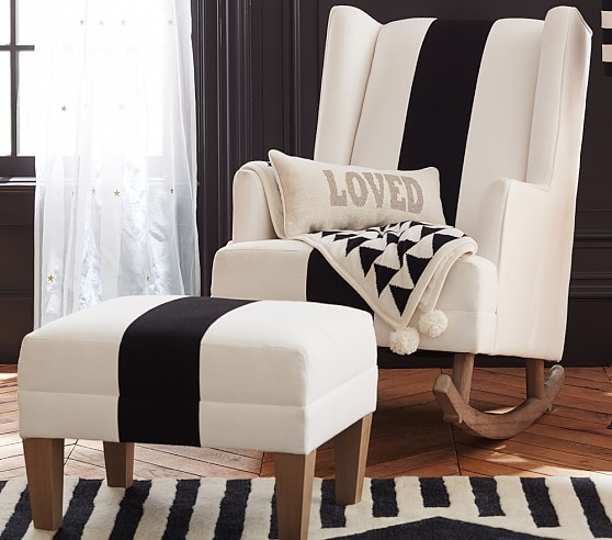 The Emily & Meritt Modern Wingback Convertible Rocker & Ottoman