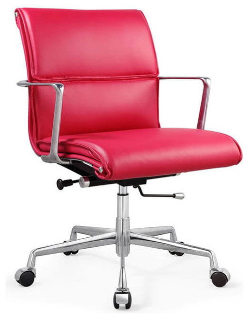 Carnegie Office Chair Pink Italian Leather - Contemporary - Office